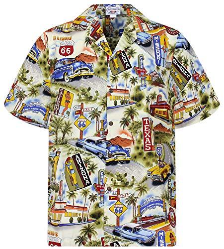 P.L.A. Pacific Legend Original Hawaiihemd, Kurzarm, Texas Arizona, Beige, L