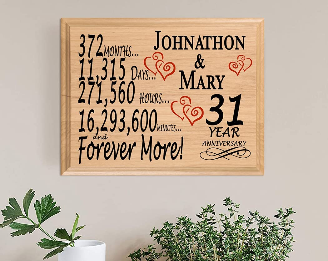 Popular shop is the lowest price challenge 31 Year Anniversary Sign Max 78% OFF Personalized 31st for Husband WIfe Gift