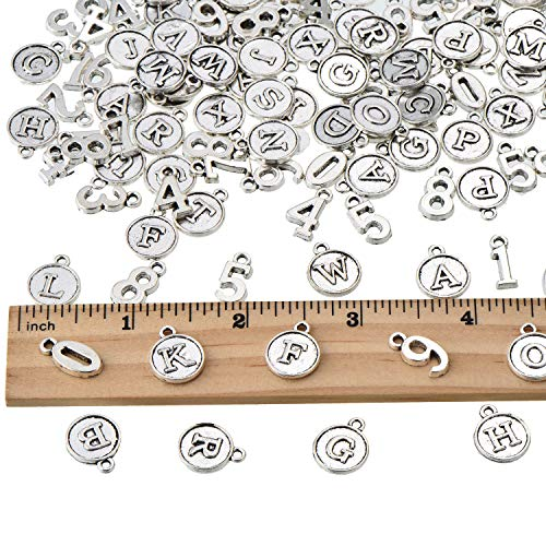 148 Pieces Alphabet Letter and Number Mixed Charms Pendants DIY for Necklace Bracelet DIY Jewelry Making Accessories