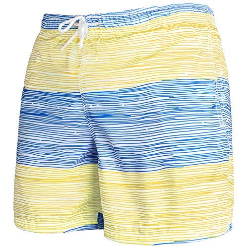 Occulto Herren Männer Badehose in vielen Farben | Badeshort | Bermuda Shorts | Beachshort | Slim Fit | Schwimmhose | Boardshort | Jungen (3XL, Blau/Gelb)