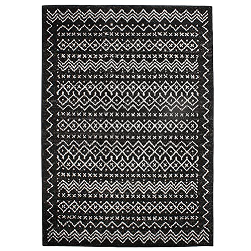 Tapis Motifs Ethnique, 133cm x 190cm, Noir/Blanc