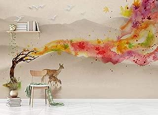 Wallpaper Wallpapers 3D Wallpaper Watercolor Landscape, Tree, elk, Maple Leaf Decorative Wallpaper Kitchen Wallpaper Bathroom Wallpaper Bedroom Living Room Wallpaper