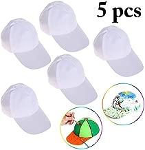 B bangcool DIY Kids Baseball Caps Hats - White DIY Creative Painting Polyester Sun Hat Sports Cap for Kids Aged 3-12 yrs Old (5PCS)