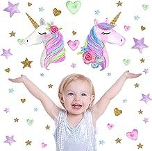 2 Pcs Eenhoorn Muurdecoratie,Eenhoorn Muurstickers,Verwijderbare Eenhoorn Wanddecoratie Stickers Decoratie voor Meisjes Ki...