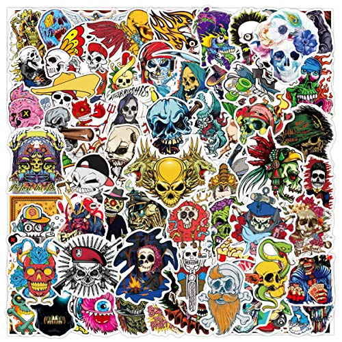 Halloween Skull Stickers Pack for Water Bottle,Waterproof Vinyl Cute Stickers Perfect for Hydro Flask Laptop Phone Car Skateboard Travel Case Bicycle Bumper Snowboard Decor (100 Pcs)