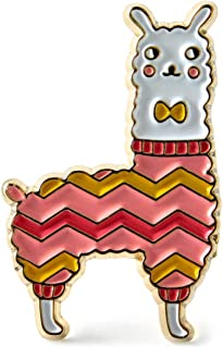 Llama Enamel Lapel Pin Wearing a Knit Sweater with Matching Bow Tie - Accessory for Knitters and Crocheters Project Bags