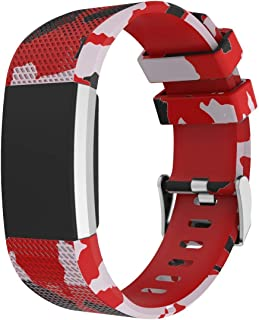 for Fitbit Charge 2 Bands, Camouflage Silicone Band with Metal Buckle Sport Strap Wristbands Accessories for Fitbit Charge...