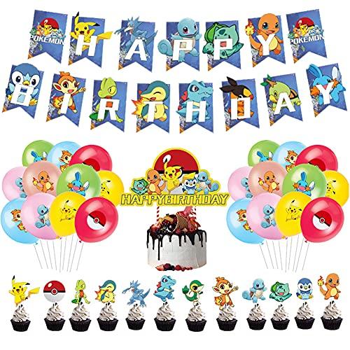 Palloncino per feste di compleanno per bambini, for Pokemon Decorazione, motivo Pokémon feste compleanno, Pikachu Feste Compleanno Palloncino, palloncini in lattice, LKNBIF per feste di compleanno