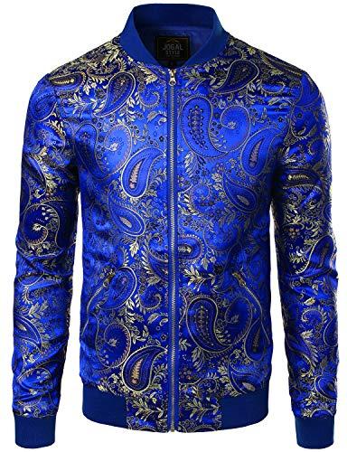 JOGAL Men's Luxury Paisley Embroidered Satin Bomber Jacket Coat Large RoyalBlue