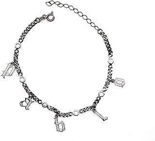 Bracciale con charm iniziale - Bracciale con lettere - Bracciale con zirconi cubici - Gioielli veri - Bracciale da donna -...