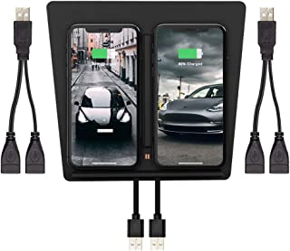 TapTes Wireless Charger for Tesla Model 3, Wireless Phone Charging Pad Car Accessories for Phone Devices Support QI Wireless Charging, Compatible All Tesla M3 Except Standard Range -w/Two USB Splitter