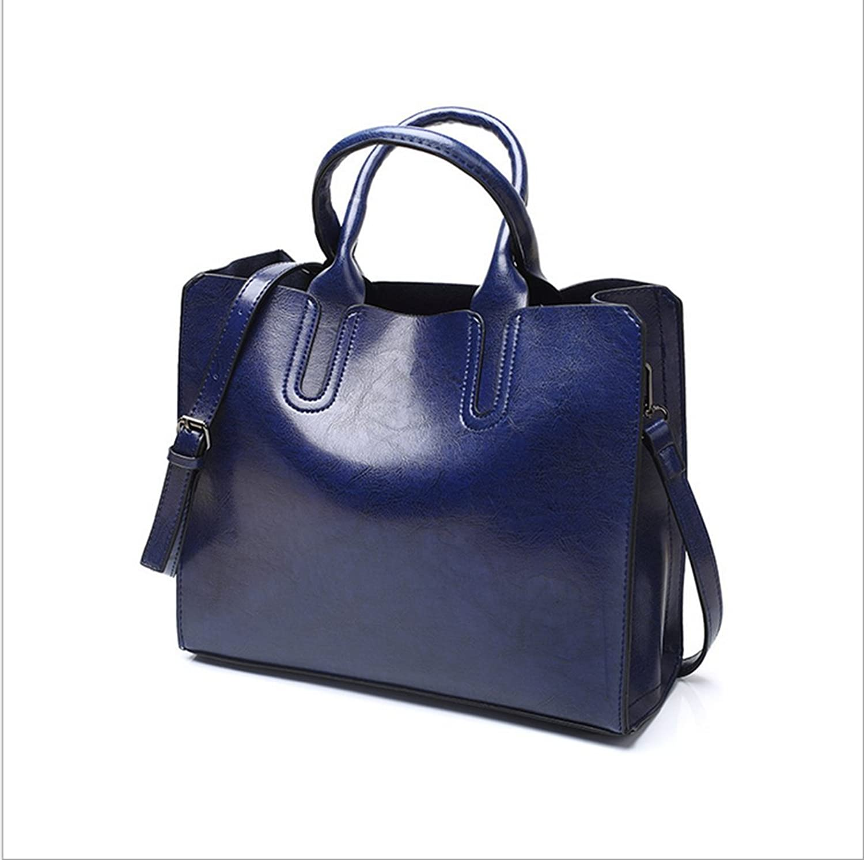 Rrock Fashion Handtaschen Öl Leder Handtasche Einfache Wilde Schulter Messenger Bag,Blau B07D6G9BJJ  eine große Vielfalt von Waren