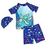 Niños Traje de baño Buceo Surf Manga Corta Camiseta + Swim Shorts + Gorra de...