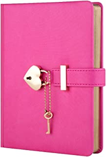 Heart Shaped Combination Lock Diary with Key Off-Color PU Leather Cover Jounal Personal Organizers Secret Notebook Gift for Girls and Women B6 Size 5.3x7 inch Rose Red