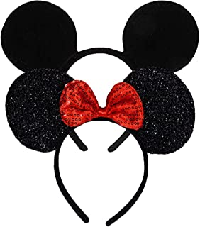 Set 2  FANYITY Mouse Ears Red Sparkled Headband for Baby Boys Girls Birthday Party