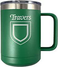 Travers Irish Coat of Arms Stainless Steel Green Travel Mug with Handle