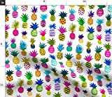 Spoonflower Stoff - Ananas Fun Weiß Groß Aquarell