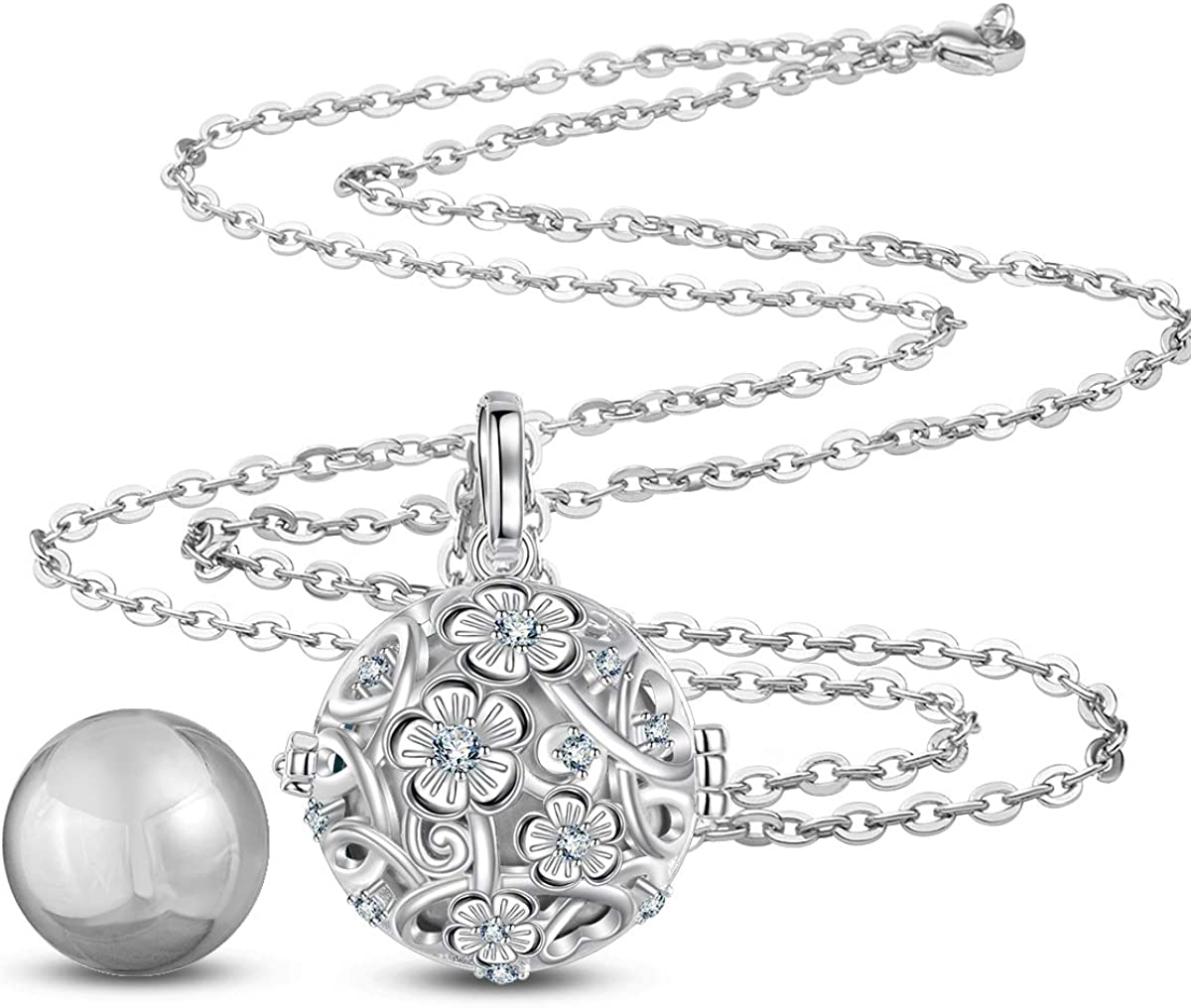 AEONSLOVE Harmony Ball Pregnancy Necklace Vintage Flower Harmony Ball Locket Angel Chime Caller Bell 20mm Mexican Bola Balls Pendant Necklaces for Women 30//45 Chain