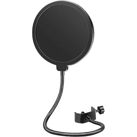 Neewer NW(B-3) 6 pulgadas Forma Redonda Studio Micrófono Mic Viento Pop Protección Cartel con Stand Clip (filtro en negro)