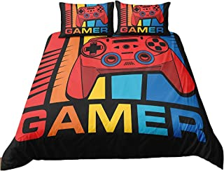 ADASMILE A & S Gamer Bedding Sets for Boys Gaming Bedding Full Size Gamer Comforter Cover Gamer Console Game Joystick Duve...