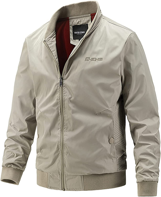 Men's Casual Slim Bomber Jackets,Lightweight Stand-Collar Workwear Coats,Windbreaker Track Jacket