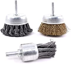Swpeet 3 PCS 3 Inch Knotted and Plated Crimped and 1-Inch Carbon Knot Wire End Brush, Cup..