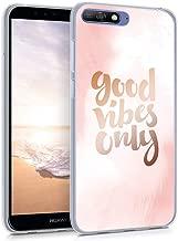 جراب من السيليكون TPU لهاتف Huawei Y6 (2018) من kwmobile - جراب خلفي شفاف للهواتف الذكية - أسود/شفاف