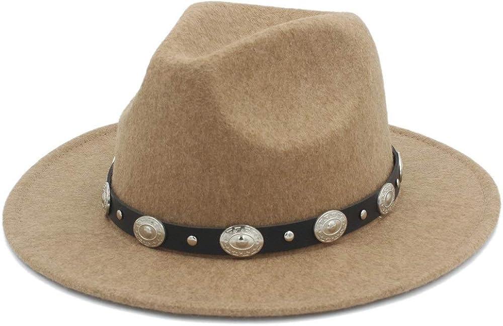 L.W.SUSL Authentic Fashion Men Women Fedora Hat with Punk Belt Pop Panama Hat Wide Brim Church Hat