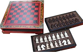 Wooden Chess China`s Antiquity Style Xi`an Terracotta Warriors Pieces