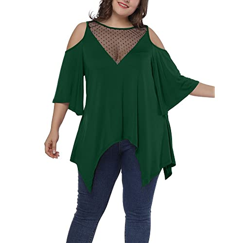 358dcb8955806 Allegrace Women s Plus Size Mesh V Neck T Shirt Trumpet Sleeve Asymmetric  Long Top