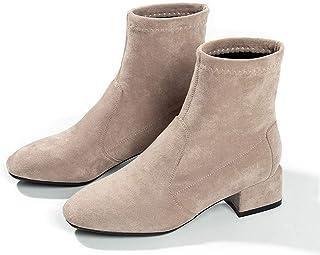 [HR株式会社] レディース ショートブーツ ファッション 無地 裏ボア 太めヒール スエード 歩きやすい 秋冬 サイズ22.0cm-25.0cm