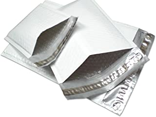"""100 Count #00 5 x 10 Inch Oknuu Packaging Supplies White Poly Bubble Mailers Self-Sealing Shipping Envelopes Plastic Mailing Bags DVD 5""""x10"""" PBM00 5""""x9"""" Inner Size (100 Pack)"""