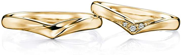 Gnzoe 2PCS 18K Yellow Gold Wedding Bands for Mens Womens V Shape with Diamond 0.05ct Engagement Wedding Ring for Him & Her