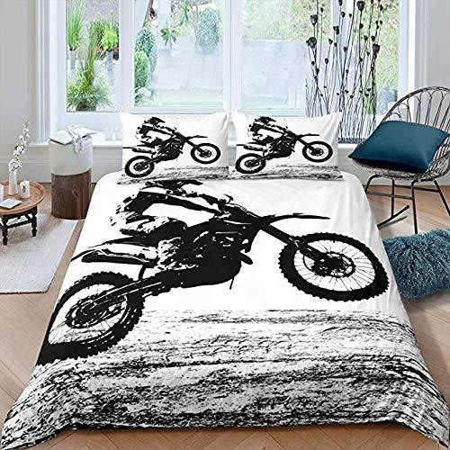 HUA JIE Teens Dirt Bike Trösterbezug,Motocross Rider Duvet Motorrad Extreme Sport Bettbezug Motorrad Grunge Style Bettwäsche Jungen Schlafzimmer Dekorativ
