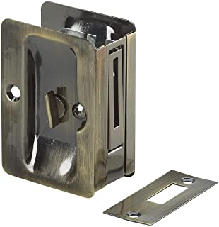 Onward 1701ABPSBC Pocket Door Pull with Privacy Lock - Rectangular, Antique Brass