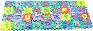 TOYANDONA Lot de 36 tapis à emboîter avec lettres et chiffres, en mousse, lavable, sol, carrés, jouets éducatifs pour enfa...