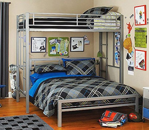 Bed Metal Frame for Kids Bedroom Teenager and Dorm  Full Silver