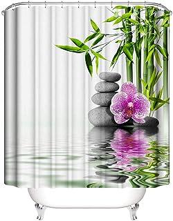 Stone Rideau de douche Zen 120 x 200 cm Impression num/érique Design moderne Tissu polyester imperm/éable lavable r/ésistant aux moisissures avec crochets inclus 119,4 x 198,1 cm