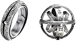 JAJAFOOK Astronomical Sphere Ball Deformation Ring Cosmic Finger Ring Lover Gifts, Titanium Steel Rings