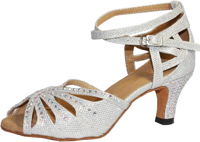 Wujieshoes Women Rhinestone Ballroom Dance shoes Latin Salsa Performance Dance shoes Suede Sole