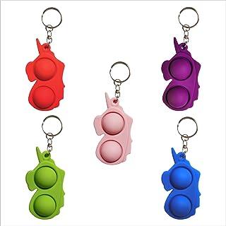 5 Packs Unicorn Mini Push Pop Dimple It Bubbles Sensory Fidget Toys Set,Simple Animal Figure Pop Dimple Bubble Stress Reli...