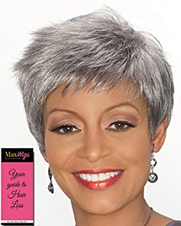 Regina Wig Color FS4/30- Foxy Silver Wigs Short Pixie Synthetic Layered Spikes Flipped Ends African American Womens Lightweight Average Cap Bundle with MaxWigs Hairloss Booklet
