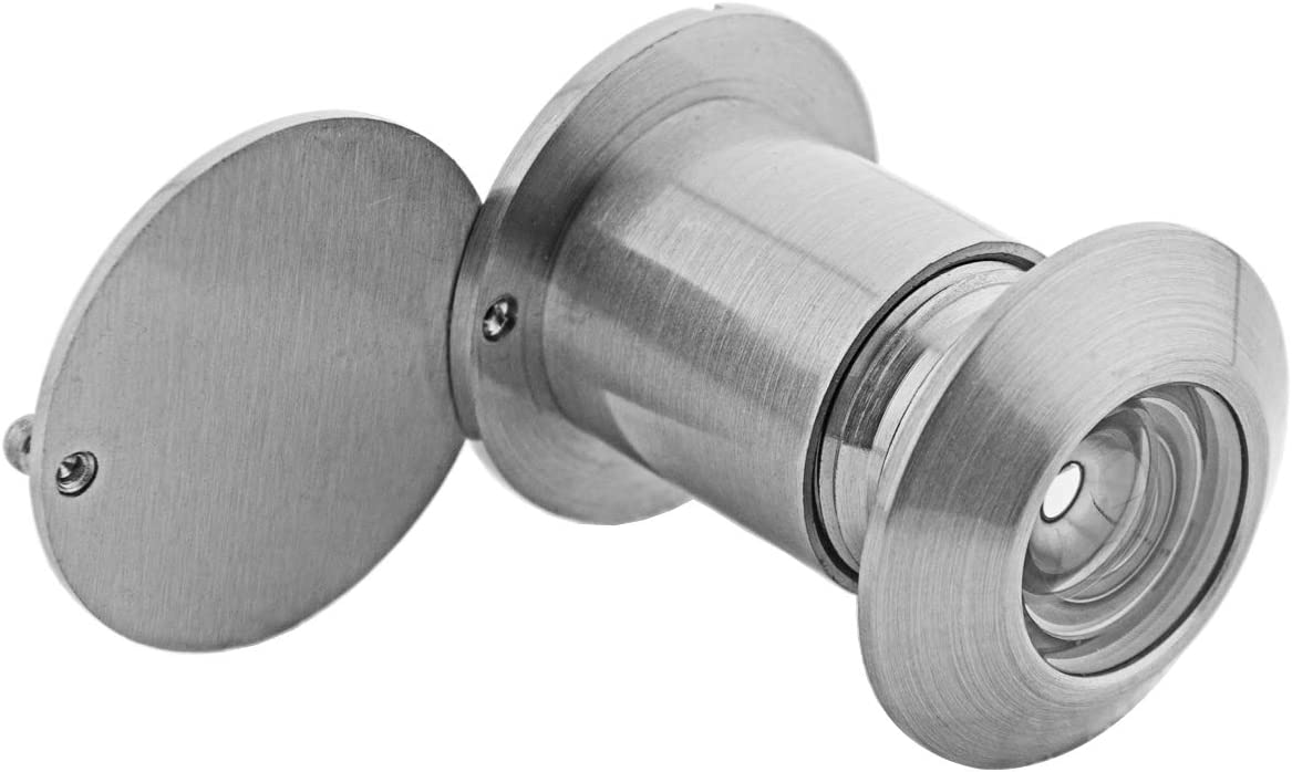 Warmheart Door Viewer Peephole Solid Brass 200-degree Door Viewer with Heavy Duty Rotating Privacy Cover for 42mm to 55mm Doors for Home Office Hotel Satin Nickel