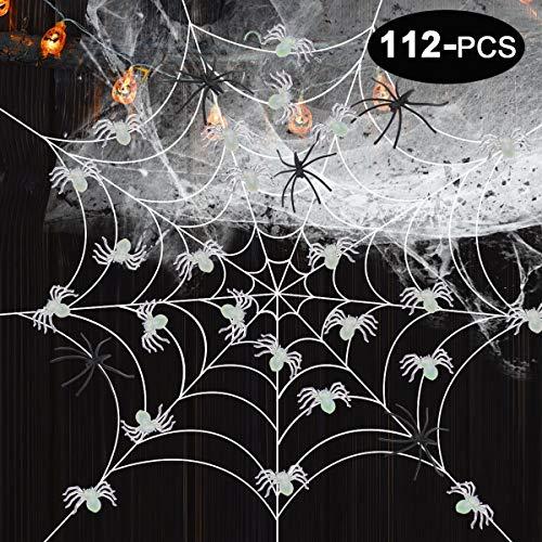 GeeVen Halloween Spider Webs 50 Luminous Spiders Glow in the Dark Stretch Spider Webs 60 Plastic Spiders for Halloween Decorations