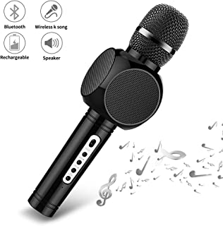 Wireless Karaoke Microphone,Ksera Portable Handheld Karaoke System 4-in-1 Bluetooth Mic with Speaker for Kids Home Party Song Record KTV and Speech, Compatible with Android iPhone iPad PC etc (Black)
