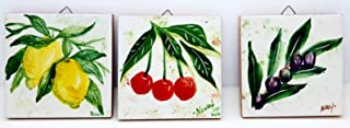 n.3 Mattonelle artistiche da Appendere Murare Sottopentola Linea Frutti Dimensioni cm.10 x 10 Ceramica Handmade Le Ceramic...