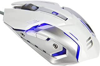 LENRUE V1 Gaming Mouse Wired, Ergonomic Computer Mice with 6 Programmable Buttons, 4 Circular & Breathing LED Light, 4 Adjustable DPI Up to 2400 for PC Mac Laptop and Gamer (White)