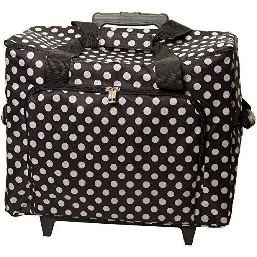 Sewing Machine Nähmaschinen-Trolley, schwarz-weiß im Polka Dots Design -- Gepolstert -- Teleskopstange -- Strapazierfähiger Nähmaschinen-Koffer gepunktet mit Rollen