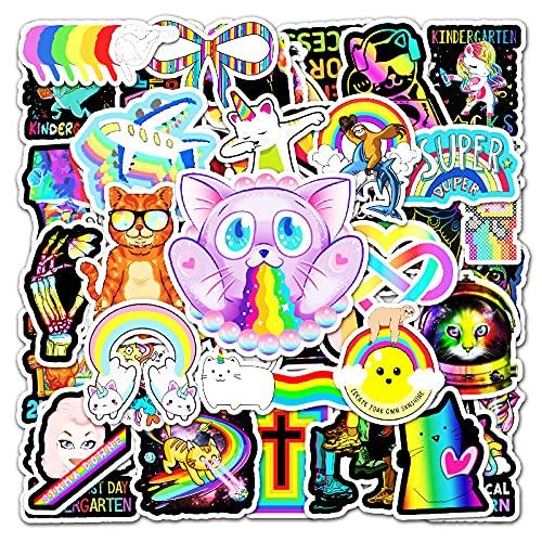 JZLMF 50 Pegatinas Personalizadas de Graffiti arcoíris de Colores para Equipaje, Scooter, decoración de Coche, Pegatinas para niños y niñas