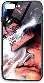 Attack On Titan Cell Phone Cases for iPhone 7 Plus/8 Plus Back Cover Apple 7P Mobile Shell Protective Basic iPhone 8P Case Soft TPU+Tempered Glass Frame